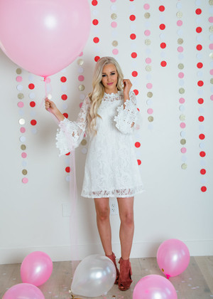 Love and Respect Lace Bell Sleeve Dress White