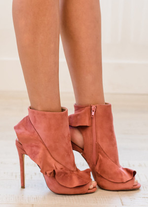 Deserving Of Your Love Suede Ruffle Heels Blush