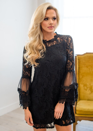 Love and Respect Lace Bell Sleeve Dress Black