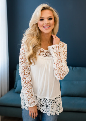 Can't Hurry Love Lace Crochet Detailed Top White