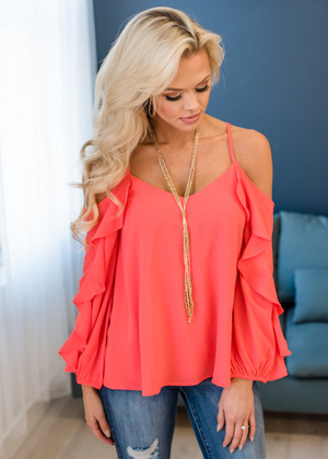 Love Running Through My Veins Ruffle Sleeve Top Neon Coral