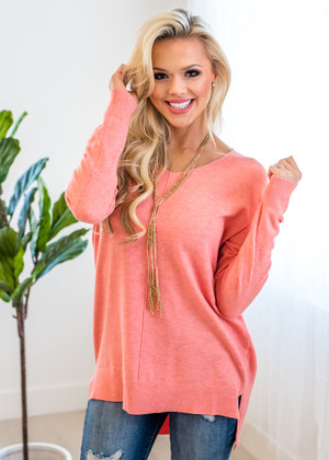 A Place For Us High Low Tunic Sweater Neon Coral