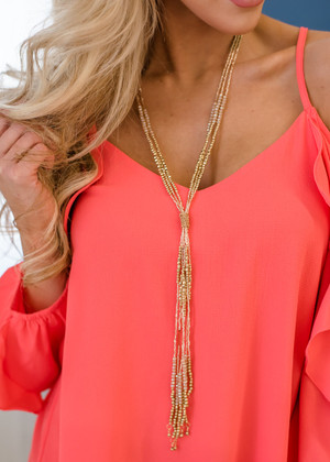 Tied To Your Love Long Fringe Beaded Necklace