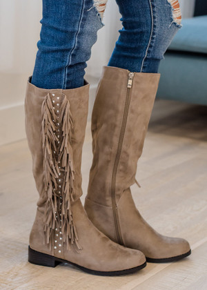 Into The Wild Fringe Stud Boots Taupe