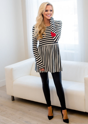 Sealed With A Kiss Heart Elbow Patch Striped Top CLEARANCE