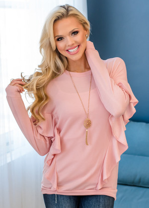 Can't Help It Ruffle Accent Top Pink