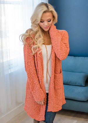 Chunky Knit Popcorn Open Pocket Cardigan Rust