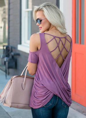 Everything Sparkles Under a Chandelier Detailed Back Top Mauve