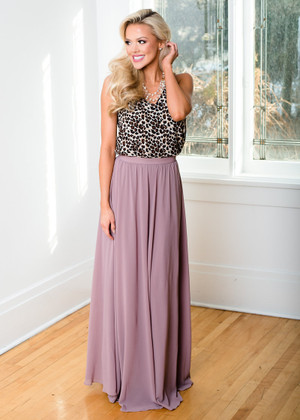 Flowing Freely Long Maxi Skirt Mauve