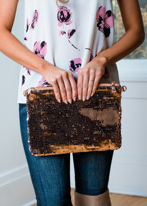 Shimmer And Shine Sequin Clutch Rose Gold