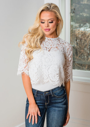 How I Feel About You Lace Crop Top White