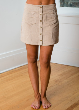 You Mean The Most To Me Corduroy Mini Skirt Light Taupe