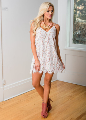 In This Together Lace Dress White/Nude