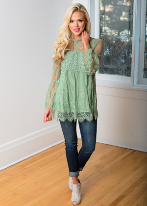 Beautiful Crochet Lace Scalloped Belle Sleeve Top Sage
