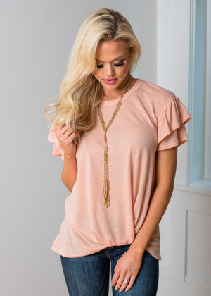 Let It Lead Your Love Speckled Ruffle Sleeve Top