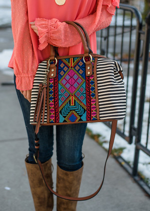 Beaded Embroidered Striped Canvas Handbag Black