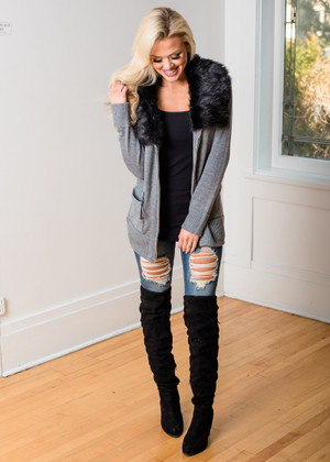 Cold Night Cuddles Zip Up Faux Fur Collar Jacket Heather Gray