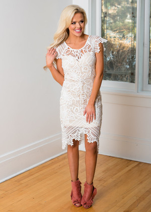 Exactly What You Like Lace High Low Pencil Dress Ivory