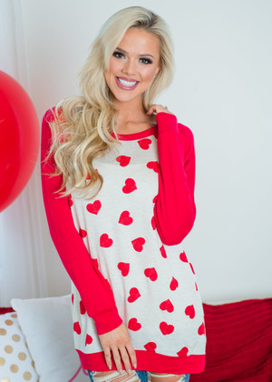 With All My Heart Long Sleeve Tunic Top Oat/Red