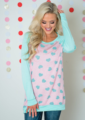 With All My Heart Long Sleeve Top Mint/Pink