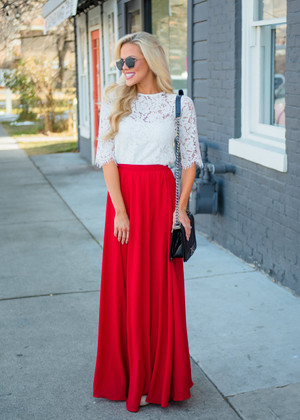 Flowing Freely Long Maxi Skirt Red