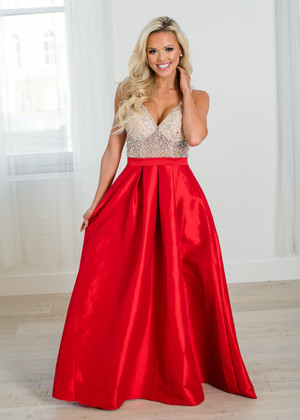Absolutely Gorgeous Sheer Studded Pocket Maxi Gown Red