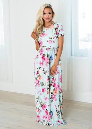 Where Did All The Time Go Floral Maxi Dress Mint