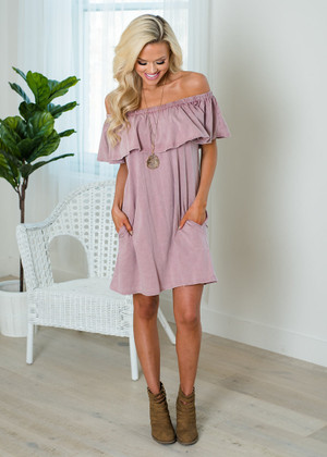 Keep It Casual Distressed Washed Off Shoulder Ruffle Dress Mauve