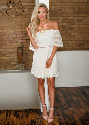 Can't You Tell Off Shoulder Lace Trim Dress Ivory