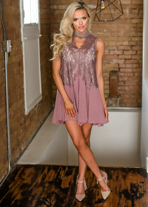 Love Me Right Flared and Pleated Lace Detail Dress Mauve