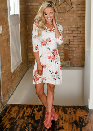 Simply Sweet Floral Criss Cross Dress Ivory