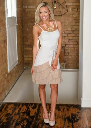 Sassy But Classy Stripe Layered Ruffled Wrap Skirt Taupe