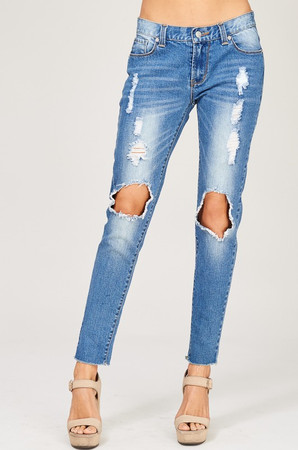 Distressed To Impress Ripped Denim Mid Rise Skinny Jeans CLEARANCE