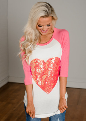 Filled With Love Sequin Heart Top Coral