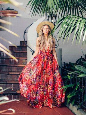 Whisk Me Away To Paradise Sheer Maxi Dress Red