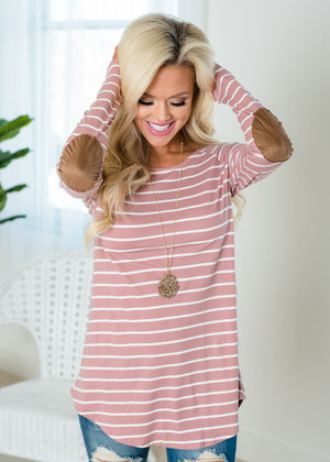 Striped Raglan Elbow Patch Top Mauve/Ivory CLEARANCE