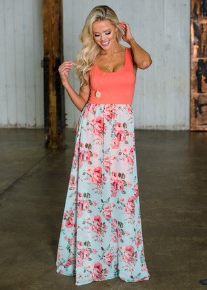 Mommy Extreme Beauty Floral Maxi Dress Neon Coral/Mint