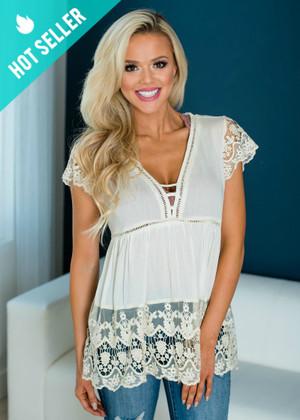 Give Me All Of Your Love Crochet Lace Detailed Top Ivory