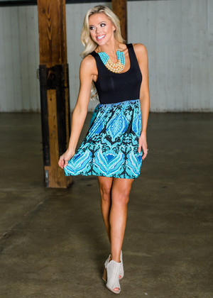 Midnight Memories Damask Bottom Dress Black/Turquoise CLEARANCE