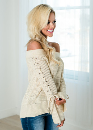 The Sweetheart Off Shoulder Lace Up Belle Sleeve Top Natural
