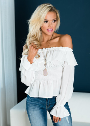 Boho Dream Ruffled Smocking Detail Off Shoulder Top Off White