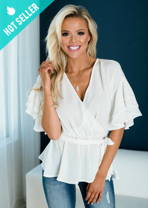 Double Ruffled Surplice Wrapped Tie Top Off White