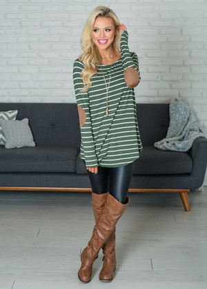 Striped Raglan Elbow Patch Top Olive/Ivory CLEARANCE