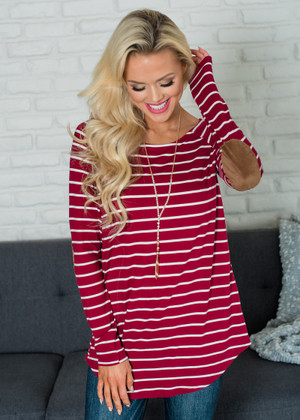 Striped Raglan Elbow Patch Top Wine/Ivory CLEARANCE