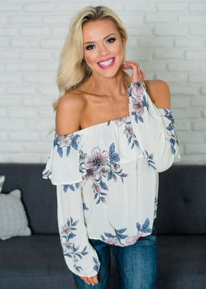 Stay With Me Off Shoulder Floral Top White