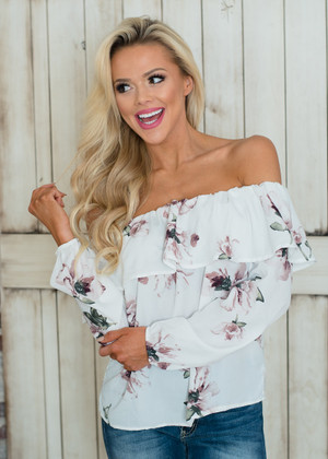 Forever Mine Floral Ruffle Off Shoulder Top White