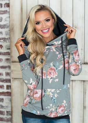 Life is Beautiful Floral French Terry Hoodie Gray