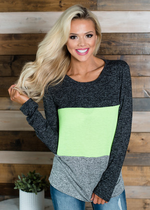 Soft Fluorescent Color Block Top Neon Green