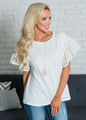 Caught In The Middle Eyelet Lace Ruffle Sleeve Top Off White