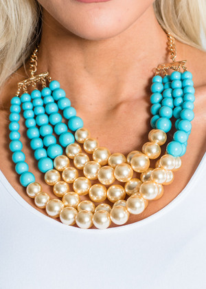 All That You Desire Multi Strand Beaded Necklace Blue CLEARANCE